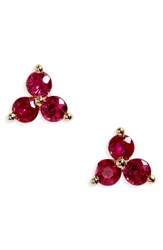 Ef Collection Women's Trio Precious Stone Stud Earrings Ruby