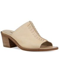 Nine West Rahima Stitched Block Heel Mules Women's Shoes Light Natural Leather