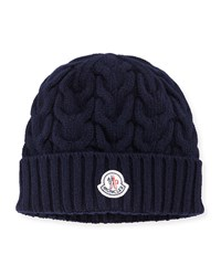 Cashmere Cable Knit Beanie Hat Navy Navy Moncler