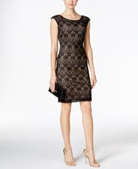 Connected Crochet Lace Cap Sleeve Sheath Dress Black Gold