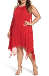 Xscape Evenings Plus Size Women's Embellished Handkerchief Hem Trapeze Dress Red