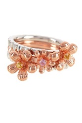Two Tone Pink And Yellow Sapphire Flower Ring Set Multi