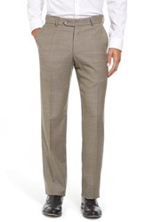 Men's Big And Tall Ballin Flat Front Sharkskin Wool Trousers British Tan