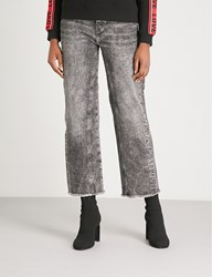 Maje Straight Fit Faded Wash Denim Jeans Grey