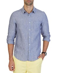 Nautica Slim Fit Linen Button Down Shirt Indigo