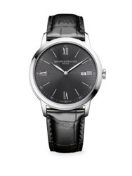 Baume And Mercier Classima 10415 Slate Gray Stainless Steel Alligator Watch Black