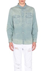 Stampd Repaired Denim Button Down In Blue