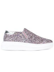 Alexander Mcqueen Glitter Extended Sole Sneakes Pink And Purple