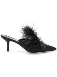Tory Burch Feather Crystal Embellished Mules Black