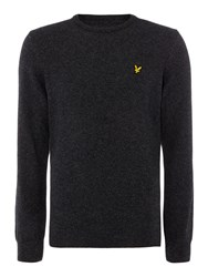 Lyle And Scott Lambswool Crew Neck Jumper Charcoal Marl
