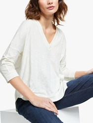 And Or Slouchy V Neck T Shirt Ivory