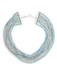 Abs By Allen Schwartz Pop Of Color Multi Strand Necklace Silver Turquoise