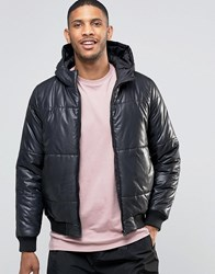 Asos Quilted Bomber Jacket With Hood In Black Black