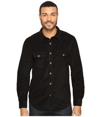 True Grit Softest Sueded Cord Long Sleeve Two Pocket Shirt Black Men's Clothing
