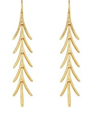 Kenneth Jay Lane Women's Long Leaf Drop Earrings Gold