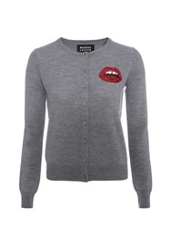 Markus Lupfer Med Grey Red Sequin Mini Lara Lip April Cardigan