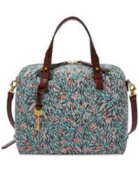 Fossil Rachel Small Satchel Blue Floral Gold
