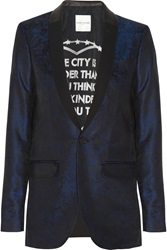 Each X Other Leather Trimmed Brocade Tuxedo Jacket Blue
