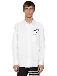 Thom Browne Dolphin Embroidered Oxford Cotton Shirt White