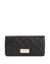 Dkny Quilted Leather Snap Flap Wallet Black