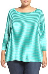 Sejour Plus Size Women's Stripe Ballet Neck Tee