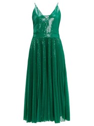 Msgm Pleated Sequinned Dress Green