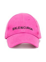 Balenciaga Pink Logo Embroidered Cap Pink And Purple