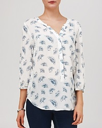 Phase Eight Blouse Fan Print Ivory And Denim