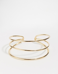 Paper Dolls Three Row Cuff Bracelet Gold