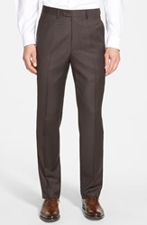 Men's Big And Tall Santorelli Flat Front Wool Trousers Espresso