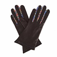 Gizelle Renee Philomena Black Leather Gloves With The Purple And Black Braided Barcode Liberty Tana Lawn