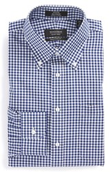 Nordstrom Men's Big And Tall Men's Shop Traditional Fit Non Iron Gingham Dress Shirt Navy Patriot