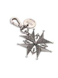 Alexander Mcqueen Swarovski Crystal And Faux Pearl Cross Key And Bag Charm Silver
