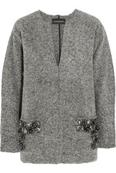 By Malene Birger Francoise Embellished Boiled Wool Blend Sweater Gray