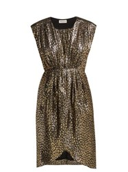 Masscob Troya Silk Lurex Leopard Pattern Dress Black Gold
