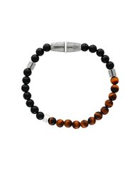 Effy Tigers Eye Onyx And Sterling Silver Bracelet Orange Black