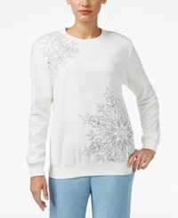 Alfred Dunner Northern Lights Studded Sweatshirt Ivory
