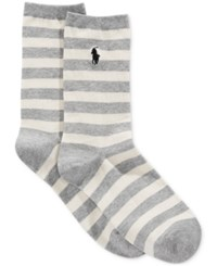 Polo Ralph Lauren Women's Rugby Striped Socks Sweatshirt Gray Heather