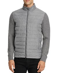 Zachary Prell Quilted Merino Wool Sweater Jacket Charcoal