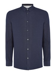 Selected Christian Tap Textured Shirt Dark Navy