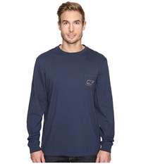Vineyard Vines Long Sleeve Bearded Santa Whale Pocket T Shirt Blue Blazer Men's T Shirt