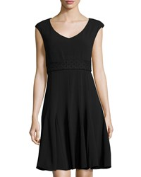 Taylor Cap Sleeve Fit And Flare Dress Black