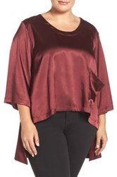 Melissa Mccarthy Seven7 Charmeuse High Low One Pocket Tee Plus Size Red