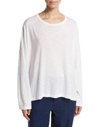 Vince Relaxed Long Sleeve Crewneck Tee White