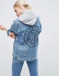 Asos Denim Girlfriend Jacket In Mid Stonewash Blue With Back Print And Grey Hood Mid Blue