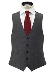 John Lewis Sharkskin Super 100S Wool Regular Fit Waistcoat Mid Grey