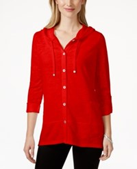 Styleandco. Style And Co. Petite Hooded Button Front Jacket Only At Macy's New Red Amore