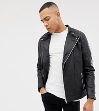 Jacamo Tall Smart Leather Biker Jacket Black
