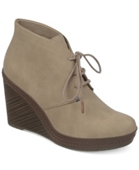 Dr. Scholl's Bethany Platform Wedge Booties Women's Shoes Rich Taupe