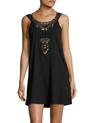 J Valdi Crochet Accented Cover Up Dress Black